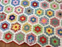 BEAUTIFUL Vintage Quilt GRANDMOTHER'S FLOWER GARDEN Handmade
