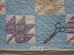 Beautiful Color! Vintage 30s Blue & White Feedsack Maple Leaf QUILT 76x70