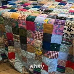Beautiful Handmade Vintage Cutter Quilt 95 x 81 Heavy Colorful Well Made