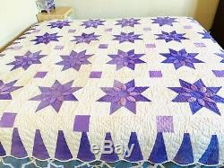 Beautiful VTG Handmade Quilt Purple White Stars Flower Queen/KIng 104x86