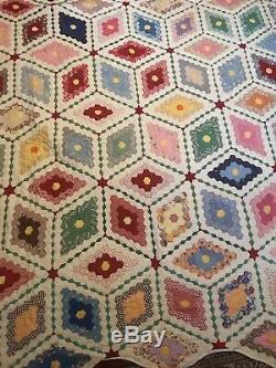 Beautiful Vintage Diamond Hexagon Quilt Handmade 72 By 72