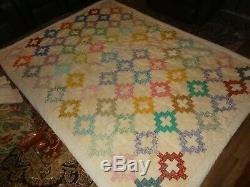 Beautiful Vintage Hand Made Patchwork Quilt 69 x 93 70 Blocks