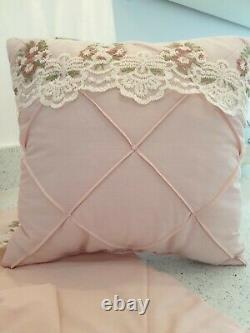 Blush Pink Cot Bedding Vintage Style Baby Girl Quilt Pillow Cover Cushion, Bows