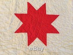 Bright Color Vintage Antique Four Lone Star Quilt 67x84 Handmade Close Quilting