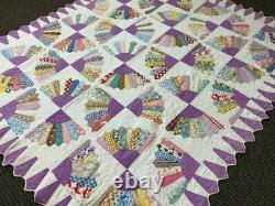 Bright Vintage Handmade Grandmother's Fan Quilt 1940's 100% Cotton 72 x 86