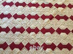 C1900 Antique Vintage Bow Graphic Tie Quilt Old Calico Fabrics Handmade 81x59