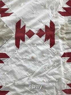 C1900 Antique Vintage Red White Graphic Quilt Old Handmade Civil War
