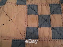CUTE VINTAGE HANDMADE PINK & BLUE BABY QUILT 56 x 80