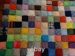 Cabin Country Vtg Hand Made Sewn 4.5 Squares Bed QUILT Large 90x94 Heavy XMAS