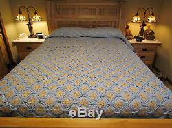 Cathedral Window HANDMADE QUILT Blue Ivory Toffee Cotton 92x120 Never Used Vtg