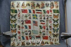 Cigarette tobacco silk patchwork quilt top 80 pcs 39 x 39 antique original