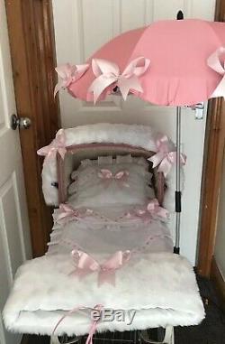 Dolls Pram Quilt Set For Silver Cross Coach Built Fur Hood, Hand Muffs & Parasol