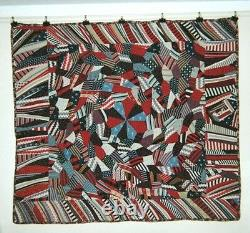 Dubuffet ABSTRACT/CRAZY QUILT w Medallion & Flange 60 x 75 Wools, c1900, NY