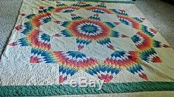 EARLY VINTAGE MULTI COLOR TEXAS STAR HANDMADE COTTON QUILT tiny stitching