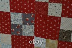 Early old quilt cotton calico red 74x76 Civil War Era hand made original 19th c