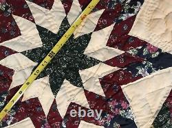 Estate Find Hand Quilted Lone Star Quilt 83x83 full queen Beautiful Blues