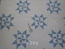 Excellent Quilting! Vintage 30-40s Blue & White STAR QUILT 85x76 Cottage Sweet