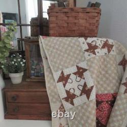 Exciting Country Home ANTIQUE Civil War Era Mini Baskets QUILT 82x62