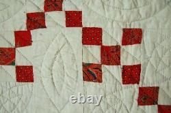 GORGEOUS Vintage Double 9-Patch Red Postage Stamp Antique Quilt EARLY FABRICS