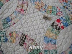 Gorgeous ALL PRINTS Vintage 30s Feedsack Wedding Ring QUILT 76x74