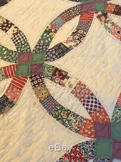 Gorgeous Rich Vintage Handmade Double Wedding Ring Quilt A Good Old Soft One