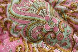 Gorgeous Vintage French Paisley Wool Filled Handmade Boutis Quilt c1930 6 x 6FT
