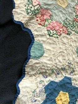Grandma's Grandmother's Flower Garden Vintage Handmade Quilt 1940s or 1950s