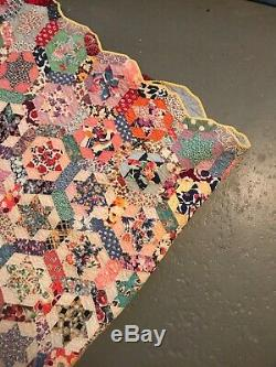 Grandmas Vintage Handmade Star Symbol Quilt 66x84 Inch Multi Color