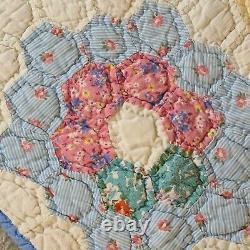 Grandmother's Flower Garden Vintage Handmade Hand Stitched Quilt 64 X 75