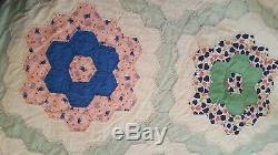 HAND SEWN QUILT VINTAGE ANTIQUE QUILT HAND MADE 80 x 92 FLOWER GARDEN QUILT