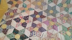 HAND SEWN QUILT VINTAGE ANTIQUE QUILT HAND MADE 80 x 96 FANTASTIC STAR QUILT