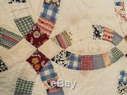 HAND SEWN QUILT vintage antique quilt Handmade Cotton 80 x 77 wedding band ring