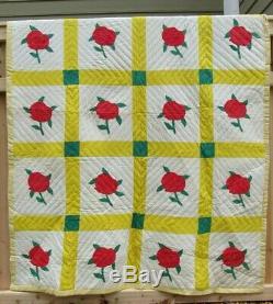 HAND SEWN QUILT vintage antique quilt Handmade Cotton 86 x 65 pink flowers