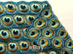 HANDMADE Crochet AFGHAN Knit THROW vtg a PEACOCK FEATHER EYE Quilt COUCH BLANKET