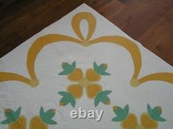 HANDMADE VINTAGE ROSE OF SHARON QUILT ORANGE, GOLDEN YELLOW, GREEN 88 x 71