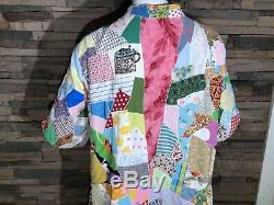HTF Vintage Patchwork Crazy Quilt Long Robe Colorful Handcrafted EUC RARE M-XL