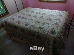 HUGE Vintage Handmade Layered Quilt HEARTS 108x94
