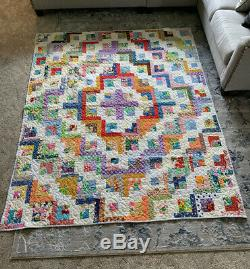 Handmade 70s Vtg Polyester QUILT Bright Floral/ Patchwork O. A. K 71x87 Beautiful