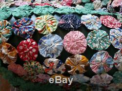 Handmade 89 x 91 Hand-stitched Yoyo Quilt 4095 Discs Multi-Color Cotton Vtg