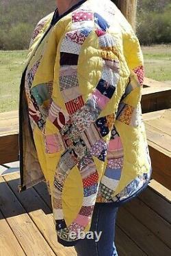 Handmade Boho Hippie Upcycled Vintage Wedding Ring Quilt Jacket Medium