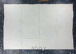 Handmade Cross Stitch Quilt Top Blue White Homemade Vtg 40s Cotton Blanket 5x7.5