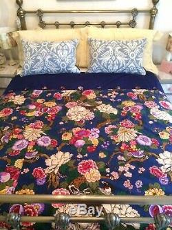 Handmade Eiderdown Style Quilted Throw Vintage Liberty Fabric Suffolk Puff Birds