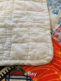 Handmade Patchwork Quilt VTG 1970s Hand Quilted 96 X 120 Oversize King Boho