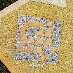 Handmade Quilt Basket Blocks 77 x 77 Vintage Top Hand Quilted New Backing Cotto