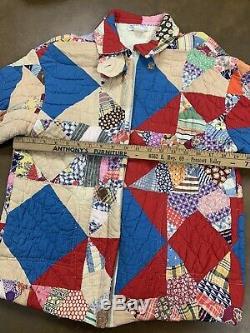 Handmade Quilt Coat Jacket Zip Front VTG Blanket Bed KAS Original Texas USA Made