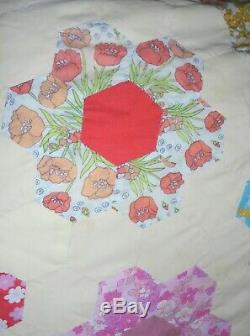 Handmade Stunning Vintage Patchwork Quilt1960HexagonFloralLargeDouble/King