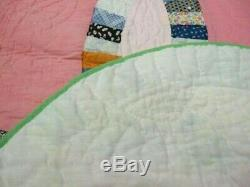 Handmade Vintage Double Wedding Ring Pattern Quilt