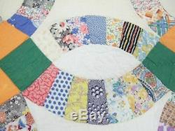 Handmade Vintage Double Wedding Ring Quilt with 1940s Fabrics