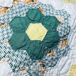 Handmade Vintage Patchwork Quilt 84 x 72 Hexagon Reversible Country Colorful