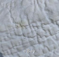 Handmade Vintage Patchwork Yellow White Quilt Throw 75 x 83 Diamond